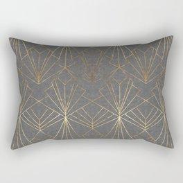 Art Deco in Gold & Grey Rectangular Pillow