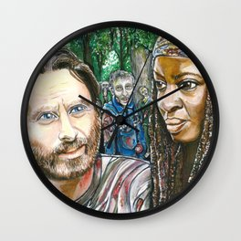 Richonne and 3 random zombies Wall Clock