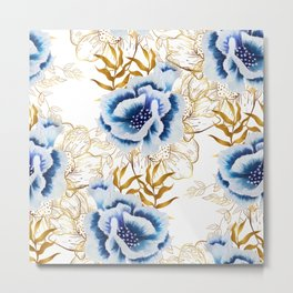 Hand painted watercolor blue flowers anemone with gold leaves Metal Print