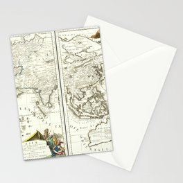 Vintage Map Print - Coronelli Map of Asia, 1690 Stationery Cards