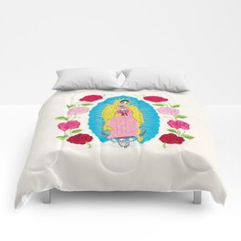 Skull Virgin of Guadalupe_ Hand embroidered Comforters