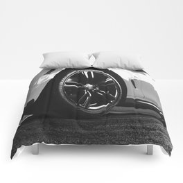 Black Rim Sports Car // White Paint Street Level B&W German Bavarian Motor Automobile Photograph Comforters