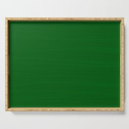 Emerald Green Brush Texture - Solid Color Serving Tray