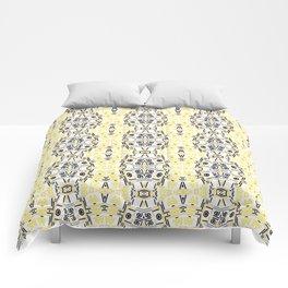 Black yellow ornament Comforters