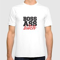 Boss Ass Bitch White Mens Fitted Tee SMALL