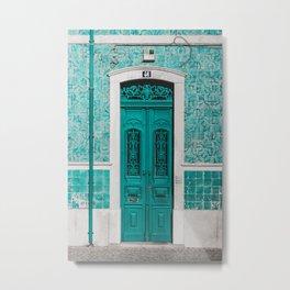 Green Moroccan Old Door Photography  Metal Print