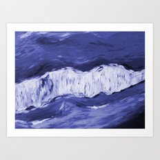 Paint 6 abstract water ocean arctic iceberg nature ocean sea abstract art drip waterfall minimal  Art Print