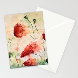 poppy in the wind Stationery Cards