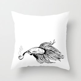 Betta with Tobacco Pipe Throw Pillow