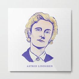 Portrait of the Children's Book Author Astrid Lindgren Metal Print