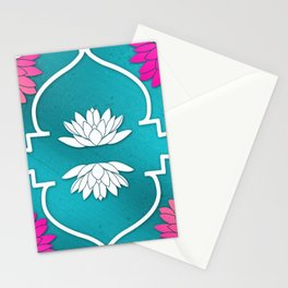 Waterlily Pattern Moroccan Style\ Prana Lotus Flower Stationery Cards
