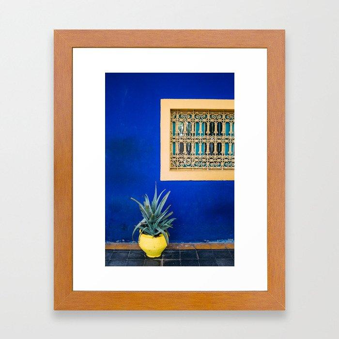 Moroccan Garden In Blue Framed Art Print