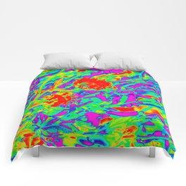 Psychedelic flower garden Comforters
