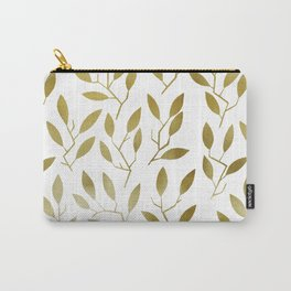 Leafy Twigs - Gold Carry-All Pouch