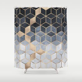Soft Blue Gradient Cubes Shower Curtain