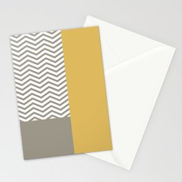 Modern Grey Chevrons Misted Yellow Colorblock Stationery Cards