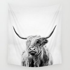 portrait of a highland cow - vertical orientation Wall Tapestry