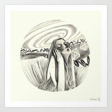 the listener - B&W Art Print