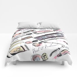 Fashion pattern with cosmetic in watercolor style Comforters