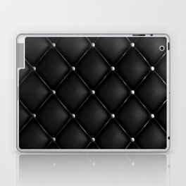Black Quilted Leather Laptop & iPad Skin
