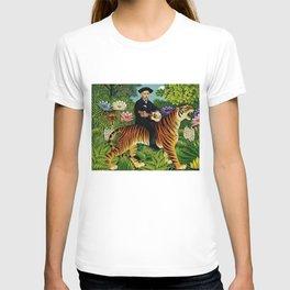 Henri Rousseau Dreaming of Tigers tropical big cat jungle scene by Henri Rousseau T-shirt