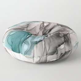 Smoky Grays and Green Abstract Flow Floor Pillow