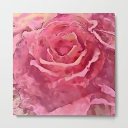 Watercolor Rose Red And Pink Shades Metal Print