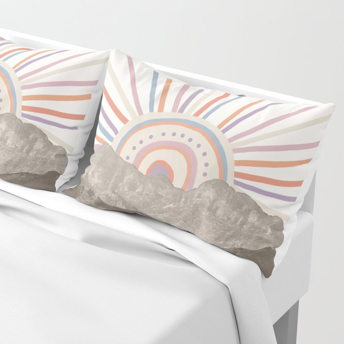 Summerlin Mountain // Abstract Vintage Mountains Summer Sun Vibe Drawing Happy Wall Hanging Pillow Sham
