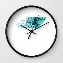 Eat Sleep Cricket Repeat Players Equipment Field Game Cricket-Bat Ball Gift Wall Clock