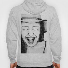 So Amused! Expressions of Happiness Series -Black and White Original Sketch Drawing, pencil/charcoal Hoody