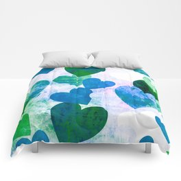 Fab Green & Blue Grungy Hearts Design Comforters