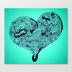 Blu Heart Canvas Print