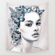 Woman with butterflies 2 Wall Tapestry