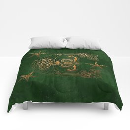 Hunter and Gold Celtic Comforters