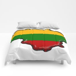 Lithuania Map with Lithuanian Flag Comforters