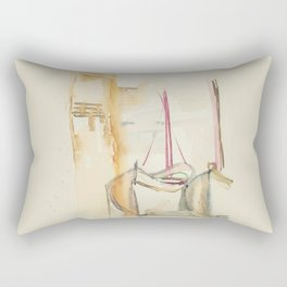 Two Boats on the sand Rectangular Pillow