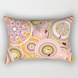 Seventies Bohemian Rock Inspired Geometric Circles and Stars in Pink and Green Rectangular Pillow