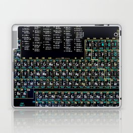 Periodic Table Of The Elements Vintage Chart Science Chemistry Teacher Student School Black Laptop & iPad Skin