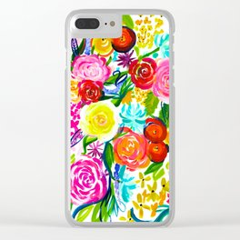 Bright Colorful Floral painting Clear iPhone Case