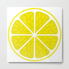 Fresh juicy lime- Lemon cut sliced section Metal Print
