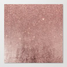 Girly Glam Pink Rose Gold Foil and Glitter Mesh Canvas Print