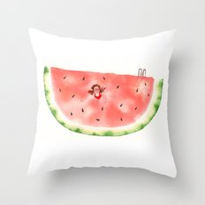 Diving in Watermelon Throw Pillow