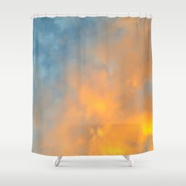 Golden Blue Sky Shower Curtain