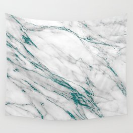 Gray Marble Aqua Teal Metallic Glitter Foil Style Wall Tapestry