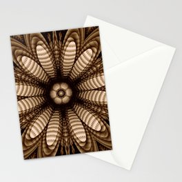 Abstract flower mandala with geometric texture Stationery Cards