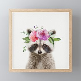 Baby Raccoon with Flower Crown Framed Mini Art Print