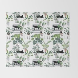 cats in the interior pattern Throw Blanket