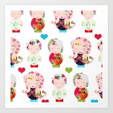 Dolls (White) Art Print