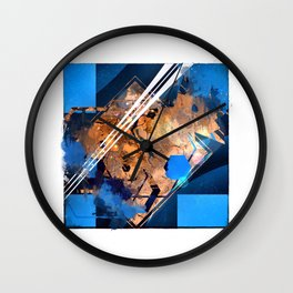 Abstraction, Orange and Blue Wall Clock