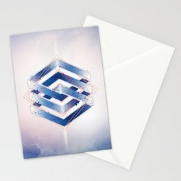 Indigo Hexagon :: Floating Geometry Stationery Cards